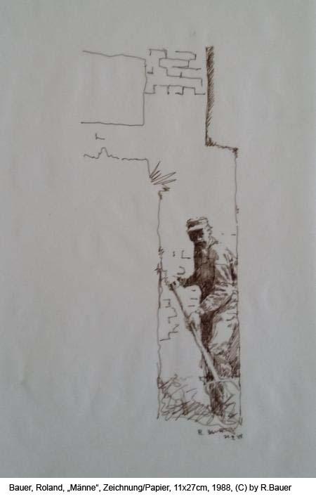 Bauer-Roland-Maenne-Federzeichnung-auf-Papier-11x27cm-1988
