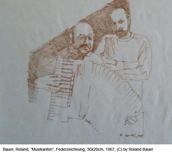 Bauer-Roland-Musikanten-Federzeichnung-auf-Papier-1967