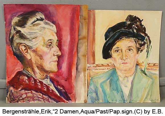 Bergenstraehle-Erik-2-Portraet-2-Damen-Aquarell-und-Pastell-signiert