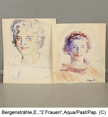 Bergenstraehle-Erik-2-Portraet-2-Frauen-Aquarell-und-Pastell-signiert