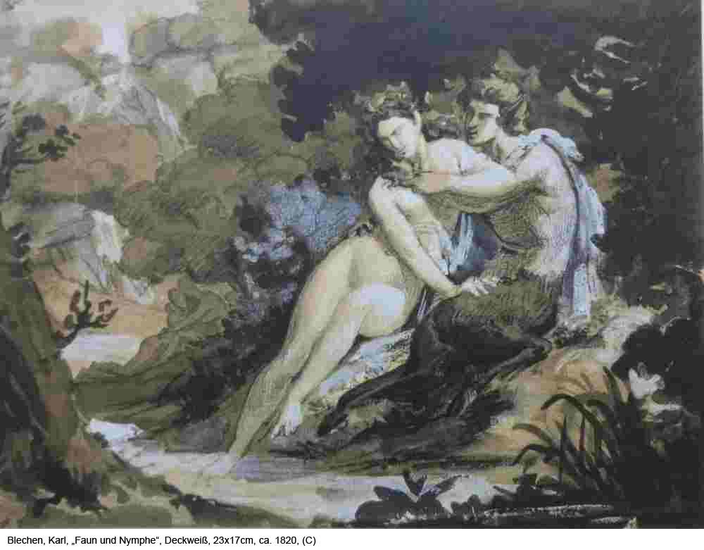 Blechen-Karl-Faun-und-Nymphe-Sepia-Deckweiss-23x17cm-um-1820