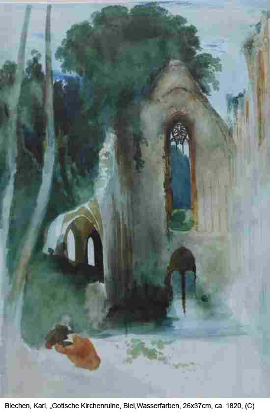 Blechen-Karl-Gotische-Kirchenruine-Blei-Wasserfarben-26x37cm-um-1820