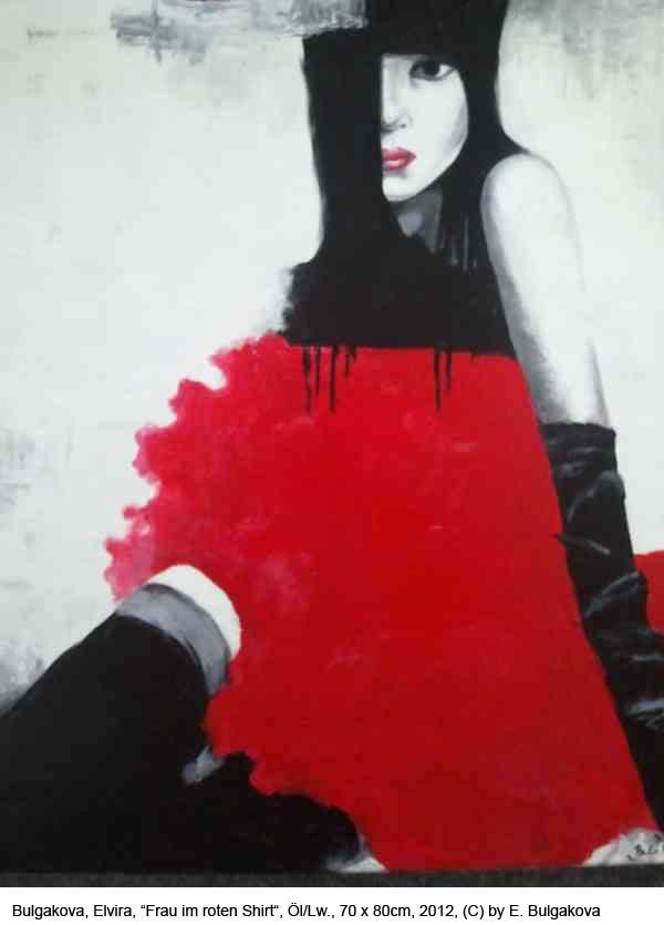 Bulgakova-Elvira-Frau-im-roten-Shirt-Oel-auf-Lw