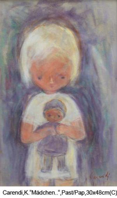 Carendi-Curt-Maedchen-mit-Puppe-Pastell-signiert-30x48cm