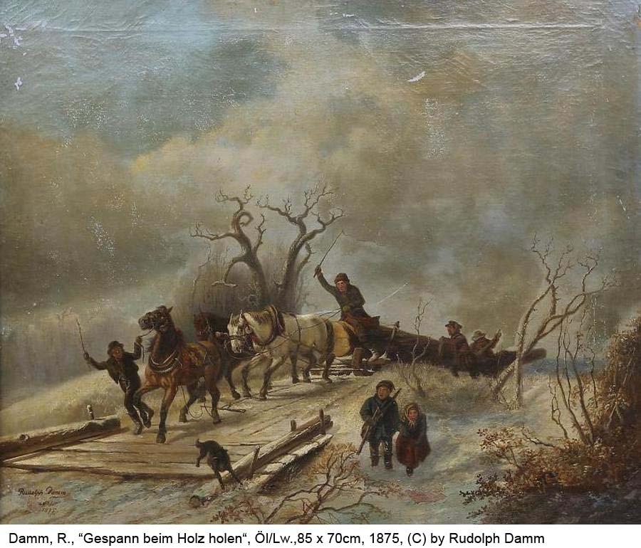 Damm-Rudolph-Gespann-beim-Holzholen-Oel-auf-Lw-85x70cm-1875