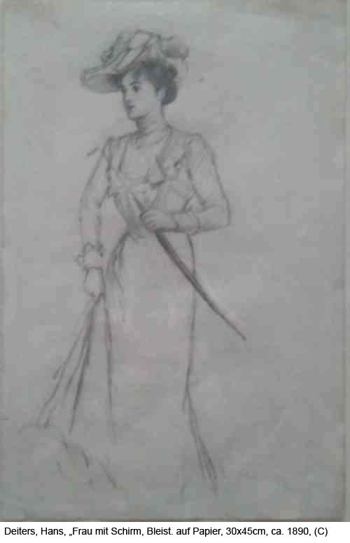 Deiters-Hans-Frau-mit-Schirm-Bleistiftzeichng-auf-Papier-30x45-ca.-1890