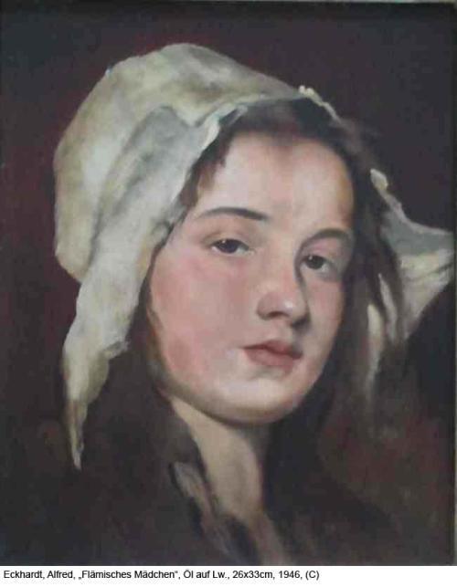 Eckhardt-Alfred-Flaemisches-Maedchen-Oel-auf-Lw.-26x33cm-1946