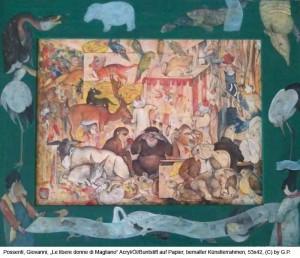 Possenti-Giovanni-Le-libere-donne-di-Magliano-Acryl-Oel-Buntstift-auf-Papier-53x42cm-2013