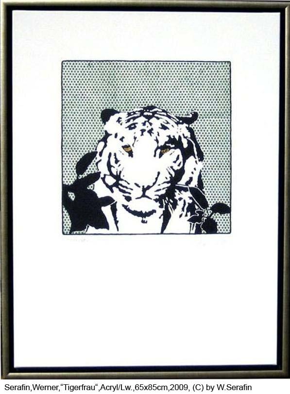 Serafin-Werner-Tigerfrau-Acryl-auf-Lw