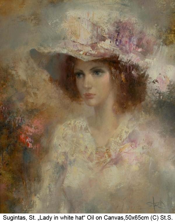 Sugintas-S.-Lady-in-white-hat-Oil-on-Canvas-2015