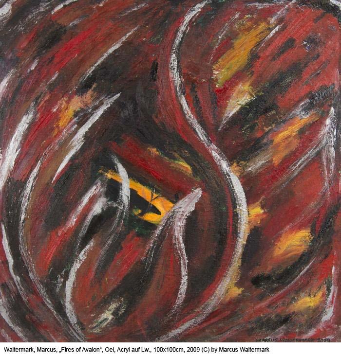 Waltermark-Marcus-Fires-of-Avalon-Oel-Acryl-auf-Lw.-100x100cm-2009