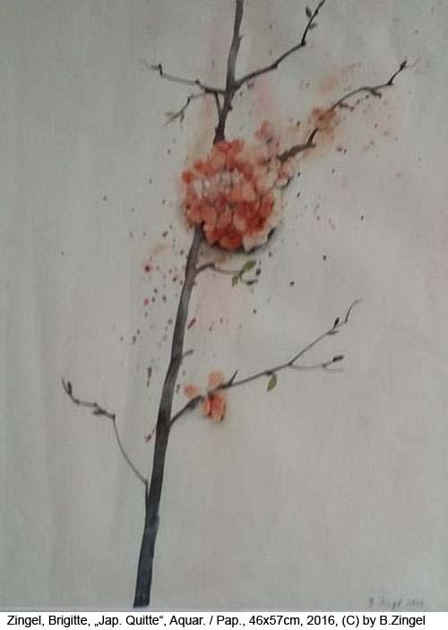 Zingel-Brigitte-Japanische-Quitte-Aquarell-auf-Papier-46x57cm-2016