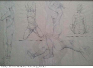 Zingel-Brigitte-schnelle-Skizzen-Bleistift-auf-Papier-100cm-x-70cm-Maerz-1994